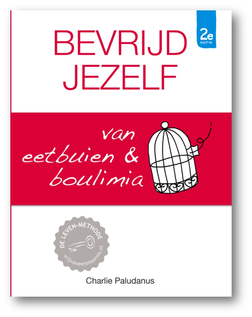 Afbeelding voorzijde boek Bevrijd jezelf van eetbuien & boulimia van Charlie Paludanus van Vrij van Eetstoornis met link naar inkijkexemplaar van het boek