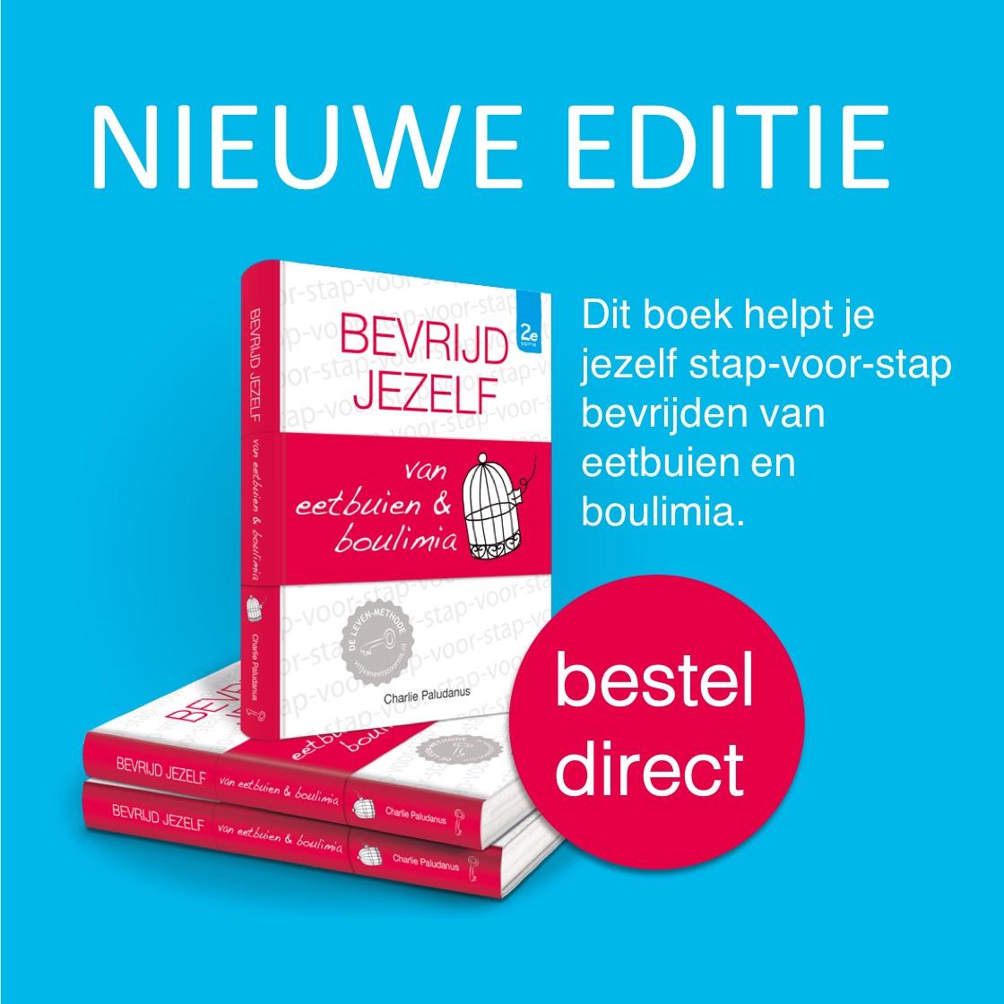Afbeelding van nieuwe editie boek bevrijd jezelf van eetbuien & boulimia,  korte omschrijving inhoud boek en mogelijkheid tot direct bestellen.